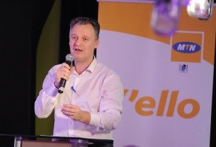 Wim Vanhelleputte CEO MTN Uganda speaking at the launch that took place at The Innovation Village in