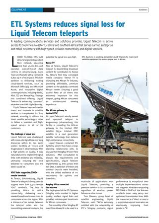 ETL Systems reduce signal loss for Liquid Telecom teleports